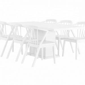 Kulmbach Pöytä 180 Valkoinen + 6 Arboga Tuolia Valkoinen