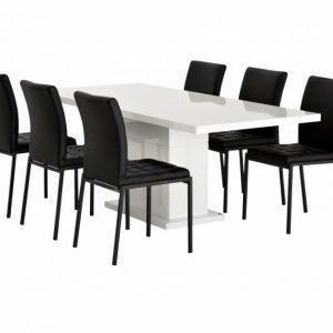 Kulmbach Pöytä 180 Valkoinen + 6 Ljusnan Tuolia Musta
