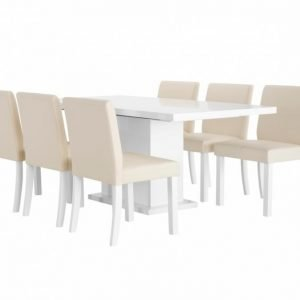 Kulmbach Pöytä 180 Valkoinen + 6 OXELÖSund Tuolia Beige