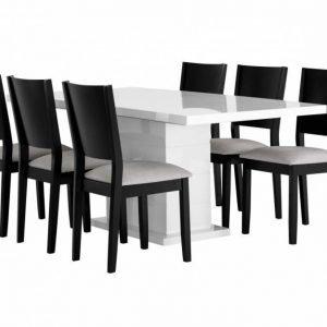 Kulmbach Pöytä 180 Valkoinen + 6 RONNEBy Tuolia Musta