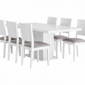 Kulmbach Pöytä 180 Valkoinen + 6 RONNEBy Tuolia Valkoinen