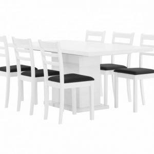 Kulmbach Pöytä 180 Valkoinen + 6 Sjöberg Tuolia Valkoinen/Musta