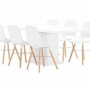 Kulmbach Pöytä 180 Valkoinen + 6 Wasosky Tuolia Valkoinen