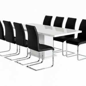 Kulmbach Pöytä 180 Valkoinen + 8 EmÅn Tuolia Musta