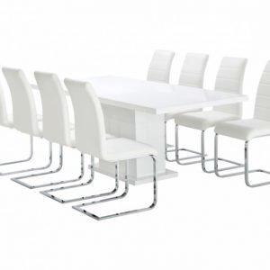 Kulmbach Pöytä 180 Valkoinen + 8 EmÅn Tuolia Valkoinen