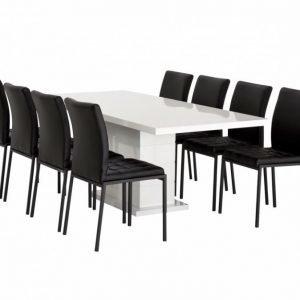 Kulmbach Pöytä 180 Valkoinen + 8 Ljusnan Tuolia Musta