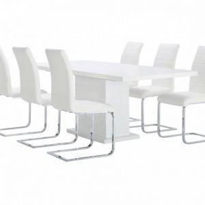 Kulmbach Pöytä 180 Valkoinen + EmÅn Tuolia Valkoinen