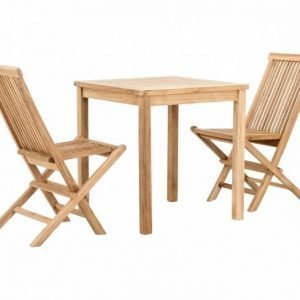 Lammhult Kahvilapöytä 70 + 2 Taittotuoli Luonnonvärinen