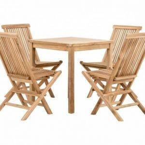 Lammhult Kahvipöytä 70 + 4 tuolia Luonnonvärinen