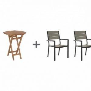 Lammhult Pöytä 60 Luonnonvärinen + 2 Lapaz Tuoli Musta/Harmaa