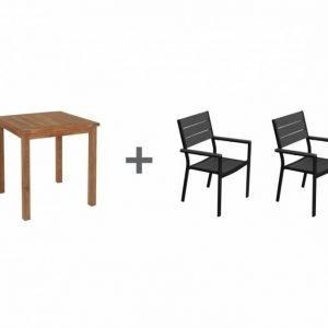 Lammhult Pöytä 70 Luonnonvärinen + 2 Lapaz Tuoli Musta/Harmaa