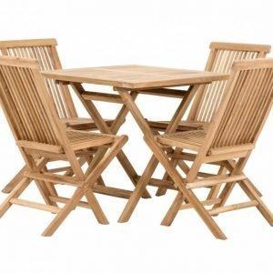 Lammhult Pöytä 80 + 4 tuolia Luonnonvärinen