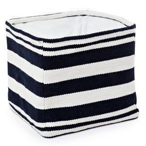 Lexington Striped Cotton Säilytyskori Sininen / Valkoinen