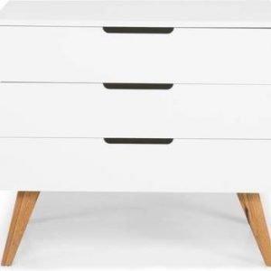 Lipasto Olavi 90x45x80 cm 3 laatikkoa valkoinen/puu
