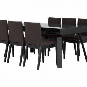 Lorelei Pöytä 183 Musta + 6 CLINT Tuolia Musta