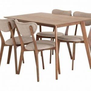 Lucy Pöytä 120 Pähkinä +  4 Tuolia Beige