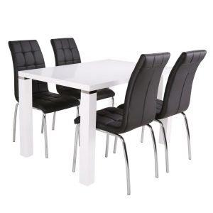 Metro Ruokapöytä Valkoinen 120 Cm + Krista Tuolit Musta 4 Kpl