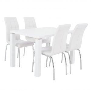 Metro Ruokapöytä Valkoinen 120 Cm + Krista Tuolit Valkoinen 4 Kpl