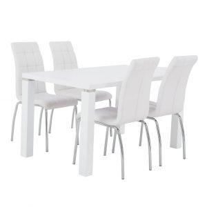 Metro Ruokapöytä Valkoinen 140 Cm + Krista Tuolit Valkoinen 4 Kpl