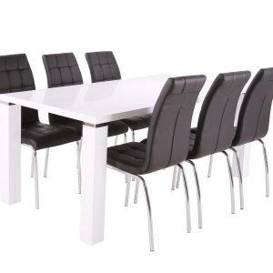 Metro Ruokapöytä Valkoinen 180 Cm + Krista Tuolit Musta 6 Kpl