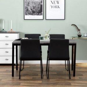 Mita Pöytä 140 Betoni/Musta + 4 Frio Tuoli Musta