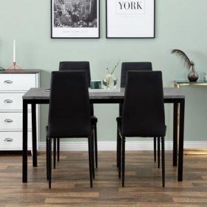 Mita Pöytä 140 Betoni/Musta + 4 GranÅn Tuoli Musta