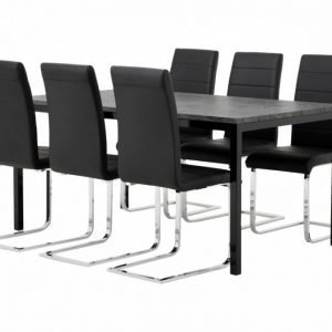 Mita Pöytä 160 Betoni/Musta + 6 EmÅn Tuoli Musta