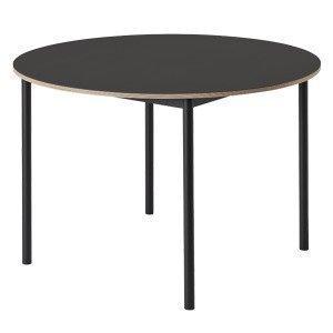 Muuto Base Pöytä Pyöreä Linoleumi Vanerireunalla Musta 110 Cm