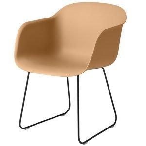 Muuto Fiber Tuoli Käsinojilla Kelkkajalka Okra / Musta