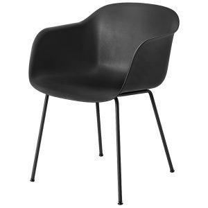 Muuto Fiber Tuoli Käsinojilla Putkijalat Musta