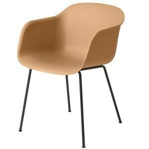 Muuto Fiber Tuoli Käsinojilla Putkijalat Okra / Musta