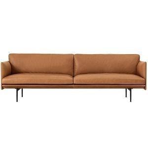 Muuto Outline Sohva 3-Istuttava Camo Leather Konjakki