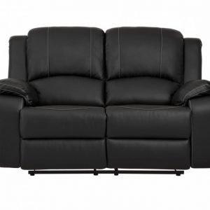Nanterre 2-istuttava Recliner-sohva Musta/Valkoinen