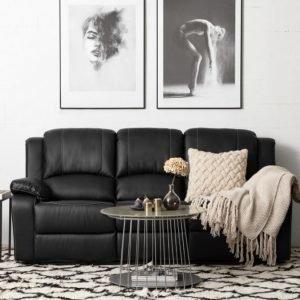 Nanterre 3-istuttava Recliner-sohva Musta/Valkoinen