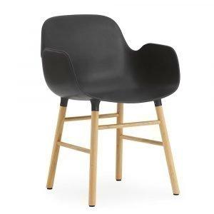 Normann Copenhagen Form Käsinojallinen Tuoli Musta / Tammi 78x56