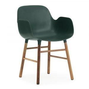 Normann Copenhagen Form Käsinojallinen Tuoli Vihreä / Saksanpähkinä