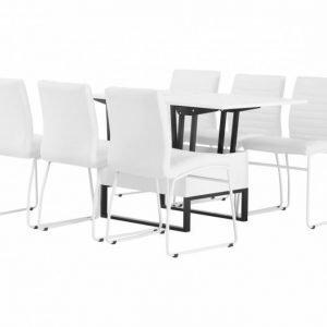 Orust Pöytä 150 + 6 Frio Tuolia Valkoinen