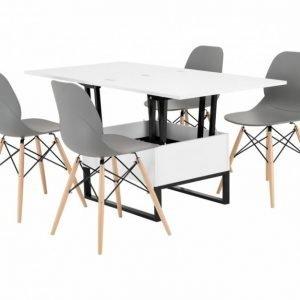 Orust Pöytä 150 Valkoinen + 4 Rana Tuoli Harmaa/Puujalat