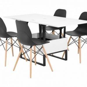 Orust Pöytä 150 Valkoinen + 4 Rana Tuoli Musta/Puujalat