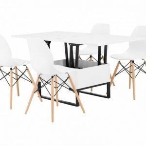 Orust Pöytä 150 Valkoinen + 4 Rana Tuolia Valkoinen/Puujalat