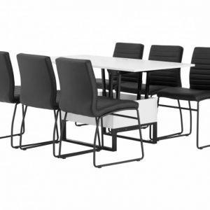Orust Pöytä 150 Valkoinen + 6 Frio Tuolia Musta