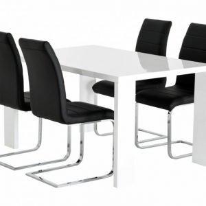 Rönne Pöytä 140 Valkoinen + 4 EmÅn Tuolia Musta