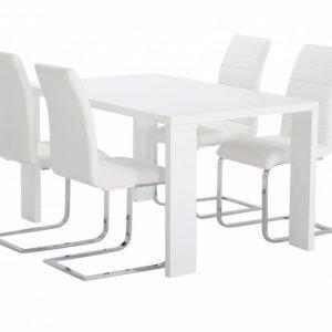 Rönne Pöytä 140 Valkoinen + 4 EmÅn Tuolia Valkoinen