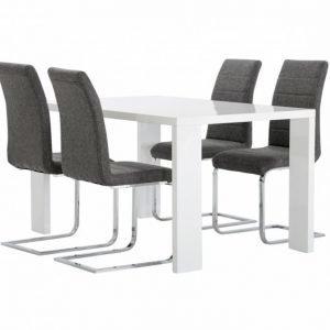 Rönne Pöytä 140 Valkoinen + 4 EmÅn tuolia Harmaa