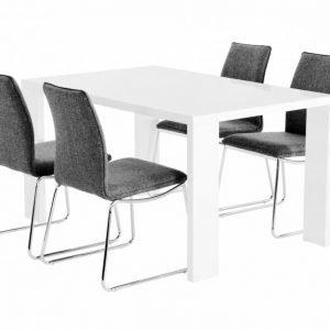 Rönne Pöytä 140 Valkoinen + 4 Ljungan Tuolia Harmaa