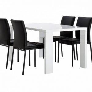 Rönne Pöytä 140 Valkoinen + 4 Ljusnan Tuolia Musta