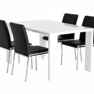 Rönne Pöytä 140 Valkoinen + 4 Nybro Tuolia Musta