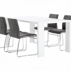 Rönne Pöytä 160 Valkoinen + 4 Viskan Tuolia Harmaa