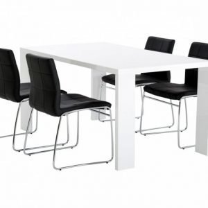 Rönne Pöytä 160 Valkoinen + 4 Viskan Tuolia Musta