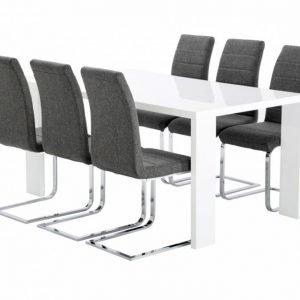 Rönne Pöytä 160 Valkoinen + 6 EmÅn Tuolia Harmaa